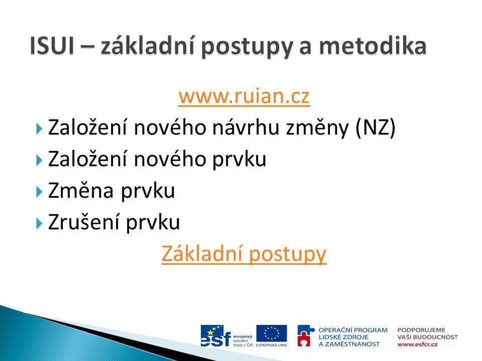 www.ruian.cz  Založení nového návrhu změny (NZ)  Založení nového prvku  Změna prvku  Zrušení prvku Základní postupy