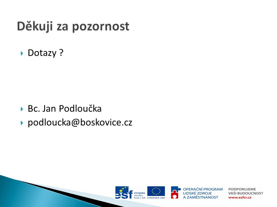  Dotazy ?  Bc. Jan Podloučka  podloucka@boskovice.cz