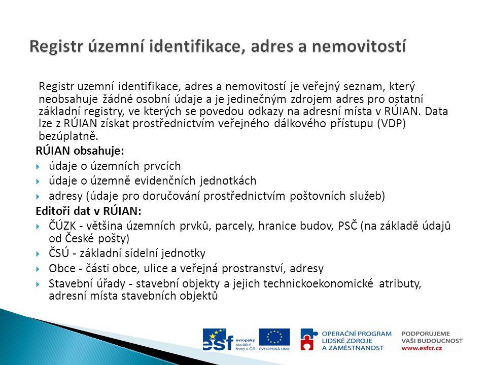 Registr uzemní identifikace, adres a nemovitostí je veřejný seznam, který neobsahuje žádné osobní údaje a je jedinečným zdrojem adres pro ostatní zákl