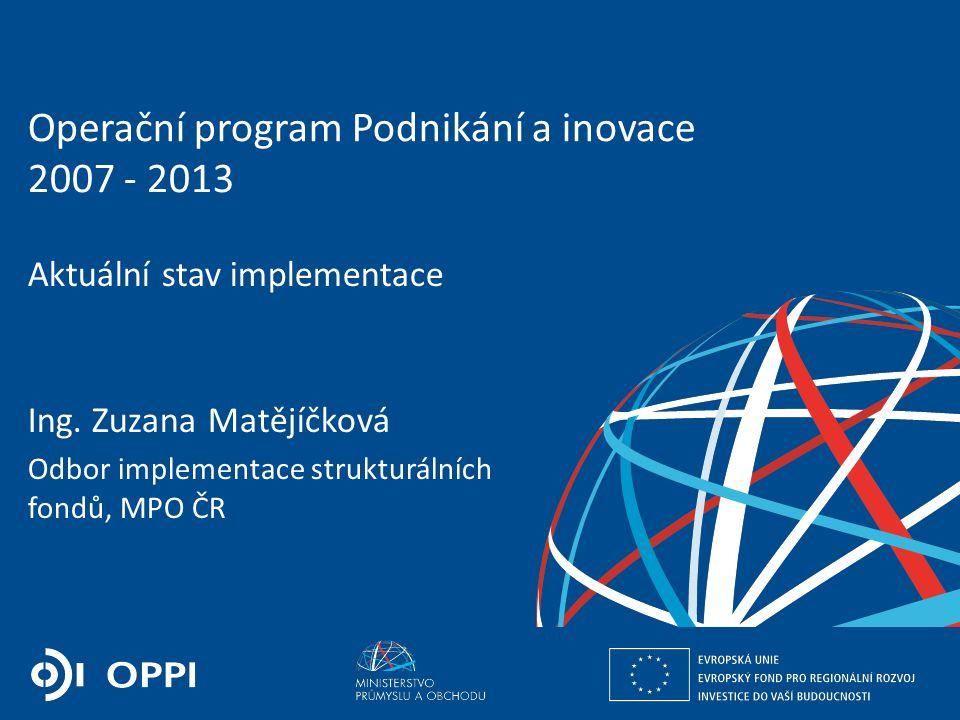 Ing. Martin Kocourek ministr průmyslu a obchodu ZPĚT NA VRCHOL – INSTITUCE, INOVACE A INFRASTRUKTURA Operační program Podnikání a inovace 2007 - 2013