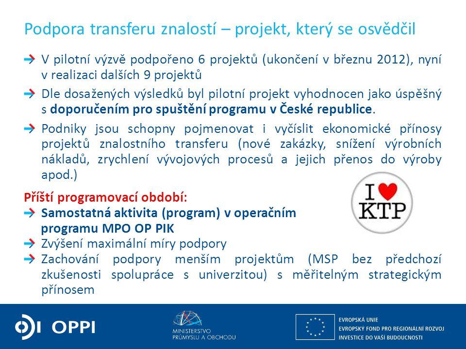 Ing. Martin Kocourek ministr průmyslu a obchodu ZPĚT NA VRCHOL – INSTITUCE, INOVACE A INFRASTRUKTURA V pilotní výzvě podpořeno 6 projektů (ukončení v