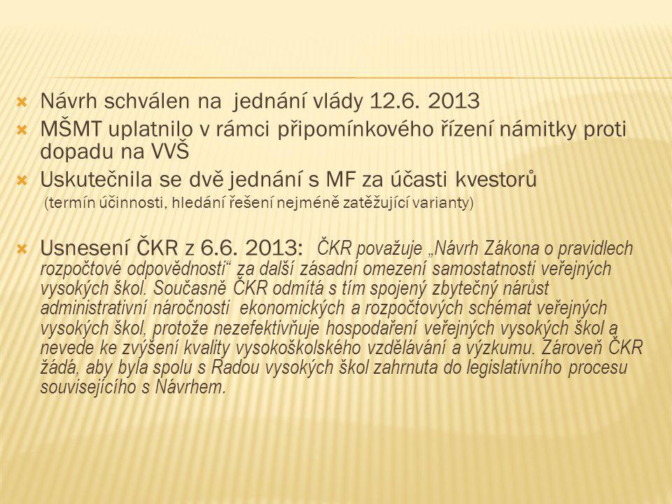  Návrh schválen na jednání vlády 12.6. 2013  MŠMT uplatnilo v rámci připomínkového řízení námitky proti dopadu na VVŠ  Uskutečnila se dvě jednání s