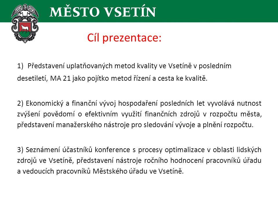 Struktura příspěvku: 1.Úvod – představení města Vsetína 2.Tucet let s metodami kvality – rekapitulace 3.MA 21 jako pojítko metod a cesta ke kvalitě 4.Ekonomicko-personální nástroje kvality.