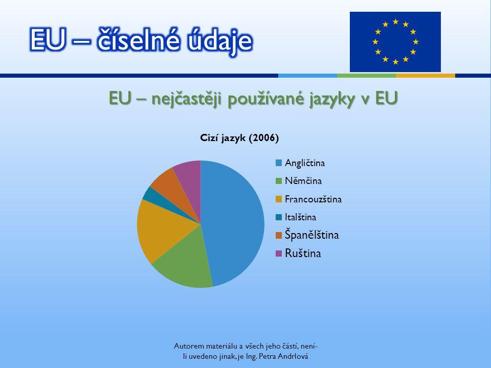 EU – nejčastěji používané jazyky v EU Autorem materiálu a všech jeho částí, není- li uvedeno jinak, je Ing. Petra Andrlová