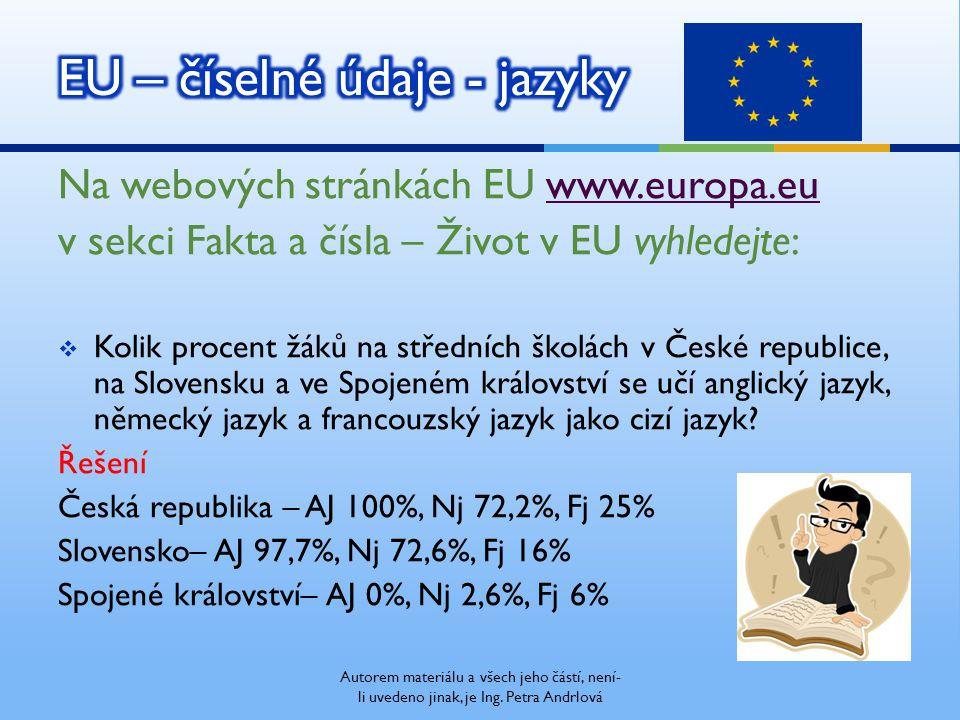 Autorem materiálu a všech jeho částí, není- li uvedeno jinak, je Ing. Petra Andrlová Na webových stránkách EU www.europa.euwww.europa.eu v sekci Fakta