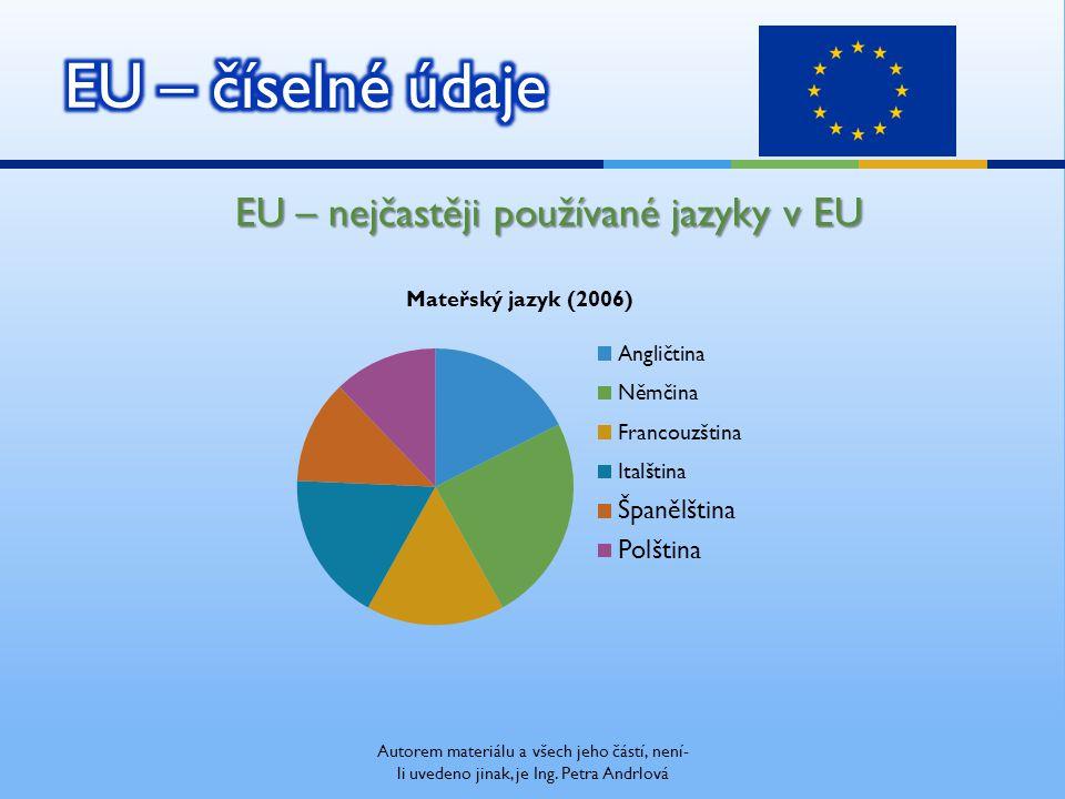 EU – nejčastěji používané jazyky v EU Autorem materiálu a všech jeho částí, není- li uvedeno jinak, je Ing.