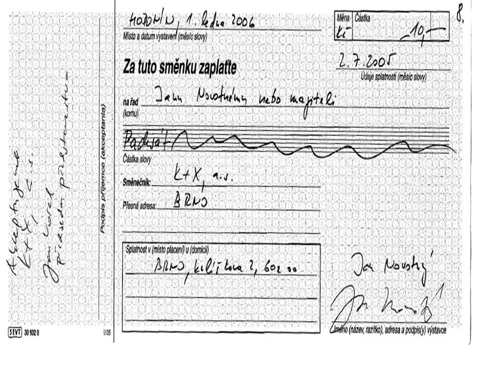 """INDOSAMENT SMĚNKY Směnka je cenný papír převoditelný na jinou osobu RUBOPISEM –INDOSAMENTEM to znamená písemným převodem INDOSAMENT se píče na rubu směnky a podepisuje ji osoba, která směnku převádí Tím se převádějí všechna práva v\plývající ze směnky Indosament může mít i podobu """"BLANKOINDOSAMENTU nevyplněný"""