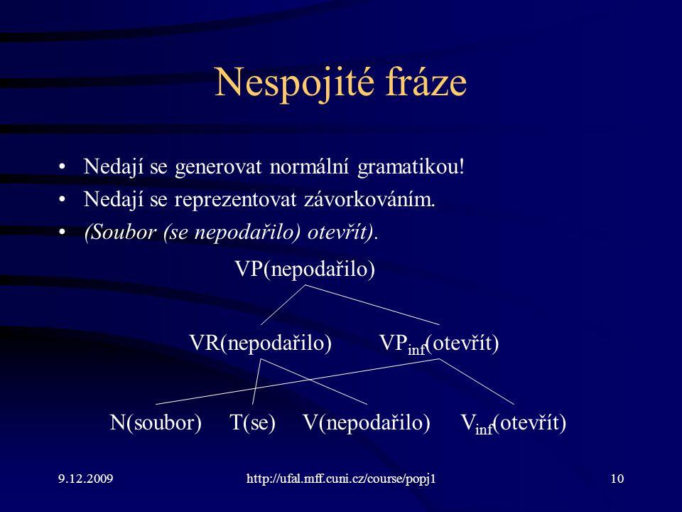 9.12.2009http://ufal.mff.cuni.cz/course/popj110 Nespojité fráze Nedají se generovat normální gramatikou! Nedají se reprezentovat závorkováním. (Soubor