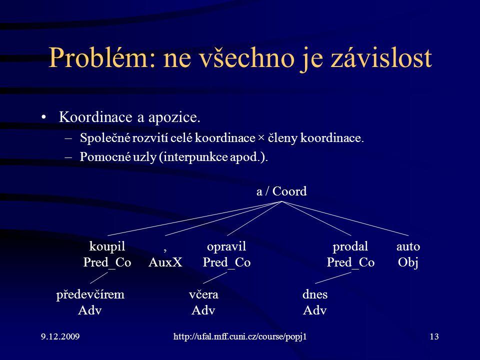 9.12.2009http://ufal.mff.cuni.cz/course/popj113 Problém: ne všechno je závislost Koordinace a apozice. –Společné rozvití celé koordinace × členy koord