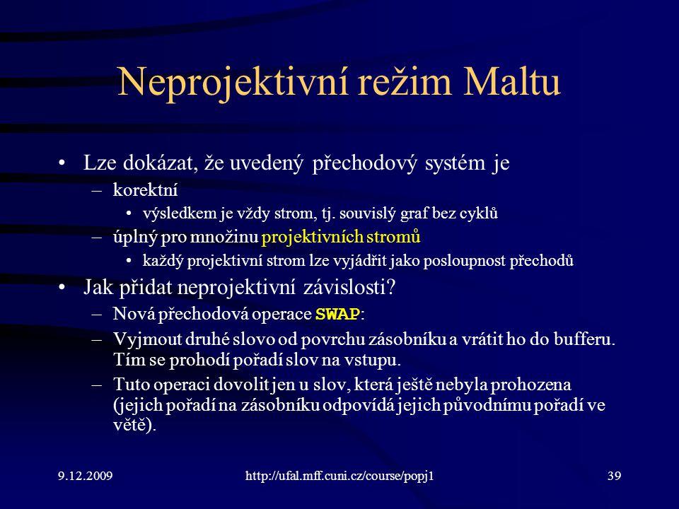 9.12.2009http://ufal.mff.cuni.cz/course/popj139 Neprojektivní režim Maltu Lze dokázat, že uvedený přechodový systém je –korektní výsledkem je vždy strom, tj.