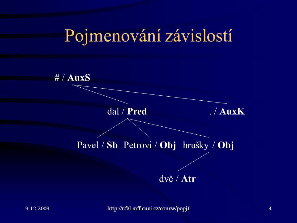 9.12.2009http://ufal.mff.cuni.cz/course/popj14 Pojmenování závislostí Pavel / Sb dal / Pred Petrovi / Obj dvě / Atr hrušky / Obj. / AuxK # / AuxS