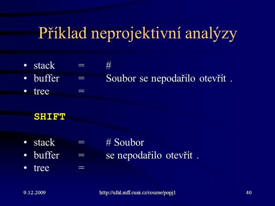 9.12.2009http://ufal.mff.cuni.cz/course/popj140 Příklad neprojektivní analýzy stack=# buffer=Soubor se nepodařilo otevřít. tree= SHIFT stack=# Soubor