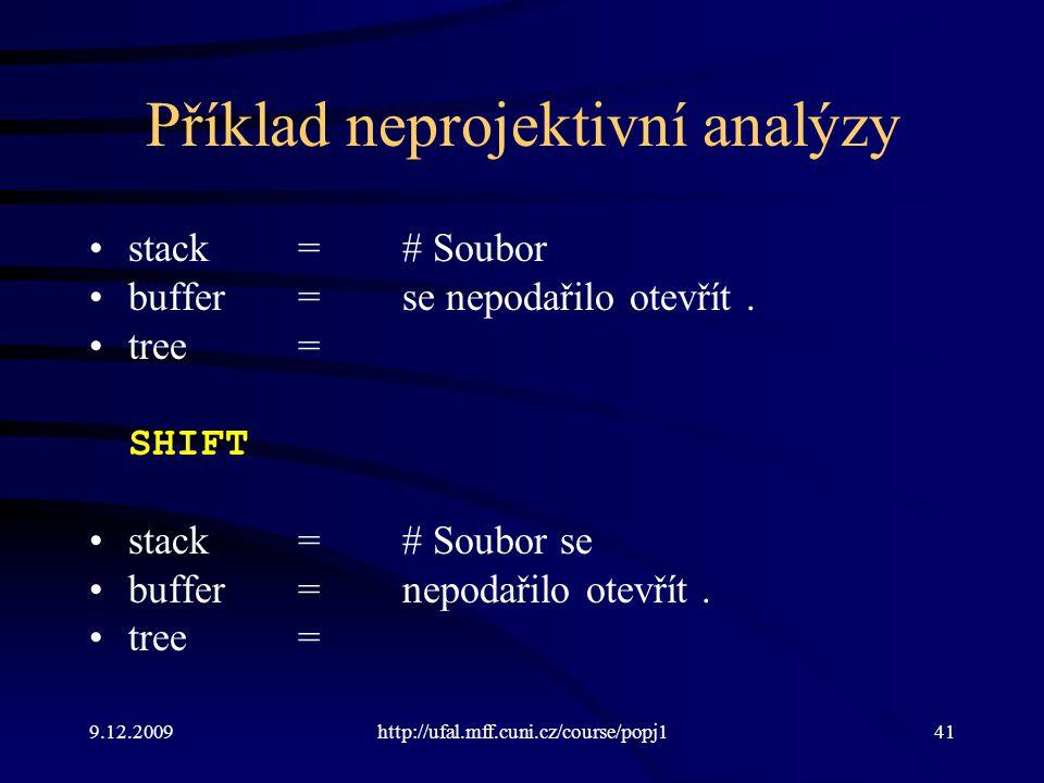 9.12.2009http://ufal.mff.cuni.cz/course/popj141 Příklad neprojektivní analýzy stack=# Soubor buffer=se nepodařilo otevřít. tree= SHIFT stack=# Soubor