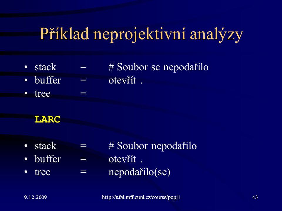 9.12.2009http://ufal.mff.cuni.cz/course/popj143 Příklad neprojektivní analýzy stack=# Soubor se nepodařilo buffer=otevřít.