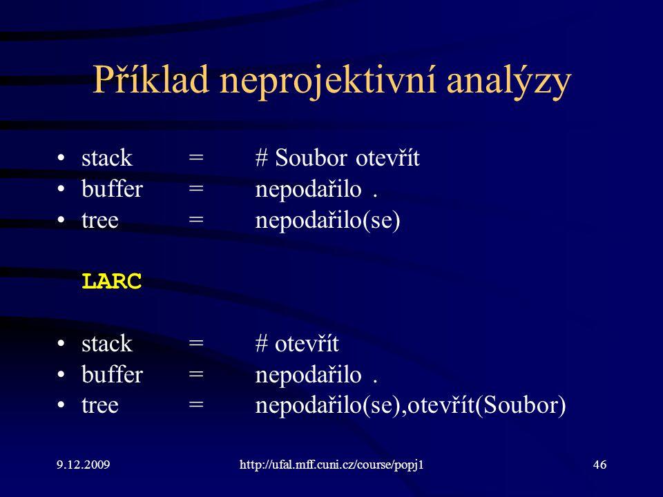 9.12.2009http://ufal.mff.cuni.cz/course/popj146 Příklad neprojektivní analýzy stack=# Soubor otevřít buffer=nepodařilo. tree=nepodařilo(se) LARC stack