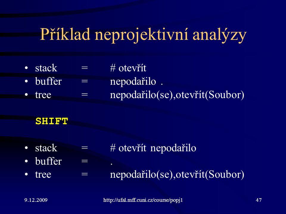9.12.2009http://ufal.mff.cuni.cz/course/popj147 Příklad neprojektivní analýzy stack=# otevřít buffer=nepodařilo. tree=nepodařilo(se),otevřít(Soubor) S