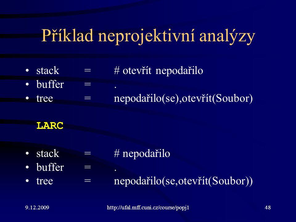 9.12.2009http://ufal.mff.cuni.cz/course/popj148 Příklad neprojektivní analýzy stack=# otevřít nepodařilo buffer=. tree=nepodařilo(se),otevřít(Soubor)