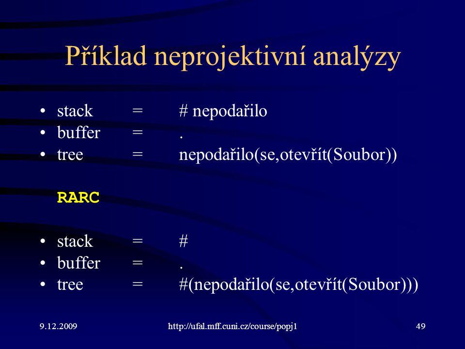 9.12.2009http://ufal.mff.cuni.cz/course/popj149 Příklad neprojektivní analýzy stack=# nepodařilo buffer=. tree=nepodařilo(se,otevřít(Soubor)) RARC sta