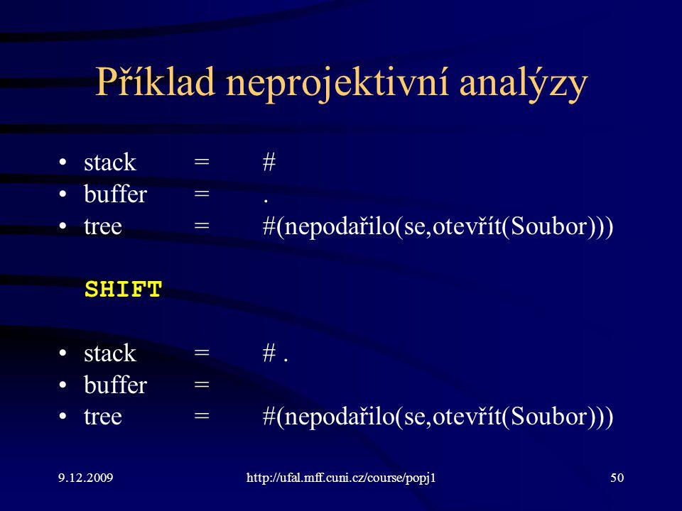 9.12.2009http://ufal.mff.cuni.cz/course/popj150 Příklad neprojektivní analýzy stack=# buffer=. tree=#(nepodařilo(se,otevřít(Soubor))) SHIFT stack=#. b
