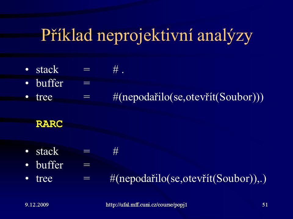 9.12.2009http://ufal.mff.cuni.cz/course/popj151 Příklad neprojektivní analýzy stack=#.