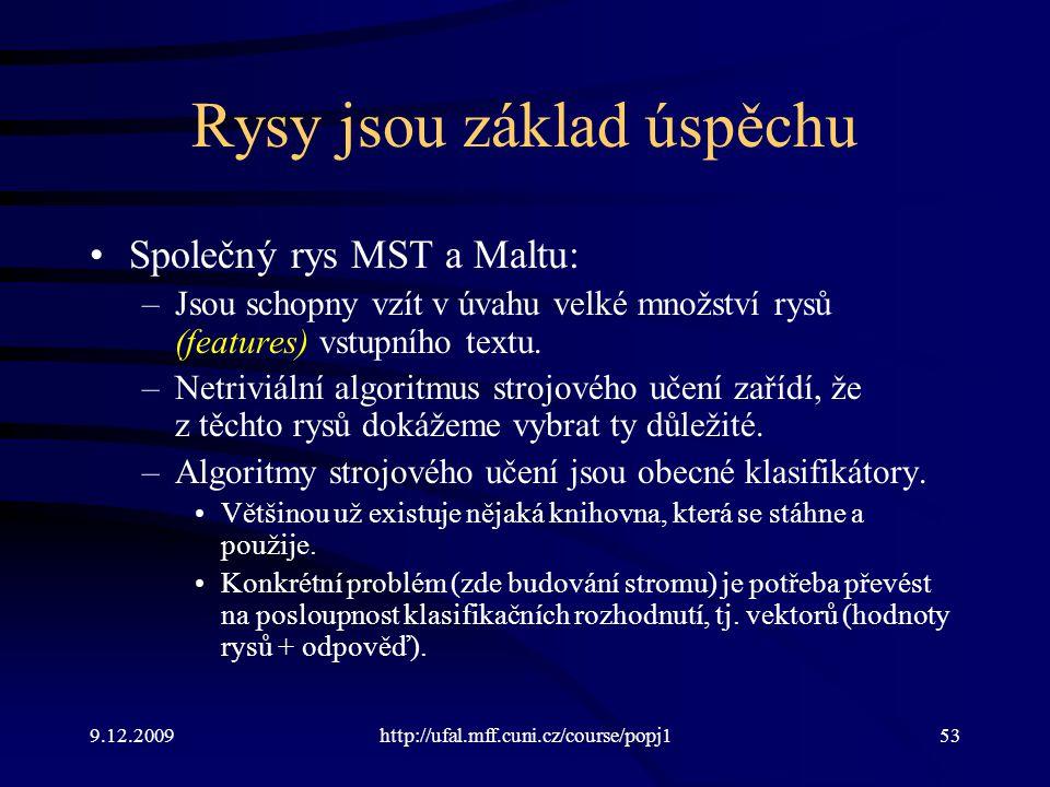 9.12.2009http://ufal.mff.cuni.cz/course/popj153 Rysy jsou základ úspěchu Společný rys MST a Maltu: –Jsou schopny vzít v úvahu velké množství rysů (features) vstupního textu.