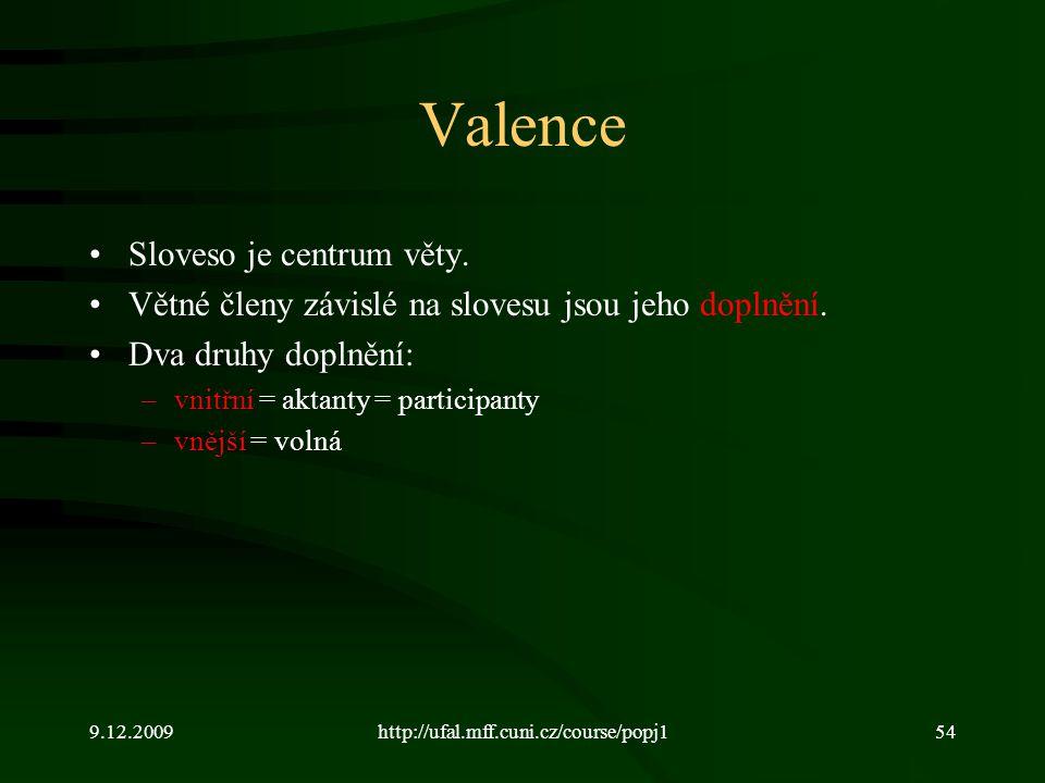 9.12.2009http://ufal.mff.cuni.cz/course/popj154 Valence Sloveso je centrum věty. Větné členy závislé na slovesu jsou jeho doplnění. Dva druhy doplnění