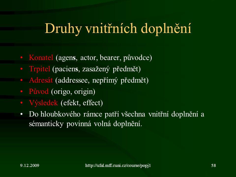 9.12.2009http://ufal.mff.cuni.cz/course/popj158 Druhy vnitřních doplnění Konatel (agens, actor, bearer, původce) Trpitel (paciens, zasažený předmět) A