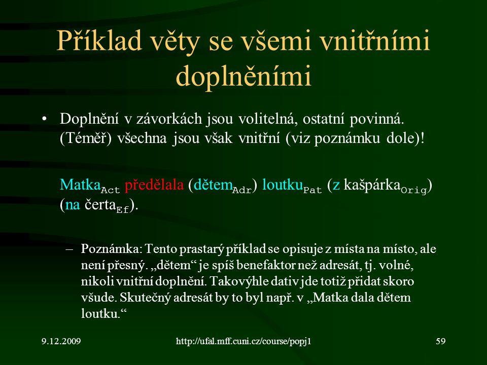 9.12.2009http://ufal.mff.cuni.cz/course/popj159 Příklad věty se všemi vnitřními doplněními Doplnění v závorkách jsou volitelná, ostatní povinná.
