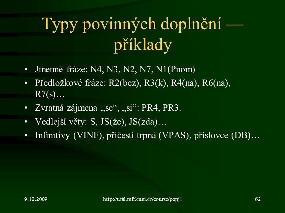 """9.12.2009http://ufal.mff.cuni.cz/course/popj162 Typy povinných doplnění — příklady Jmenné fráze: N4, N3, N2, N7, N1(Pnom) Předložkové fráze: R2(bez), R3(k), R4(na), R6(na), R7(s)… Zvratná zájmena """"se , """"si : PR4, PR3."""