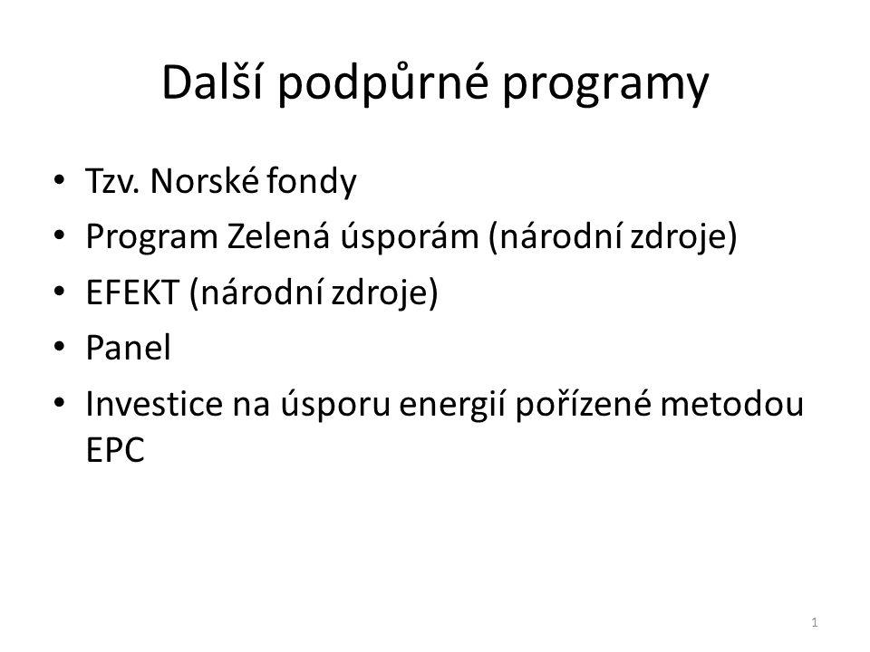 Další podpůrné programy Tzv. Norské fondy Program Zelená úsporám (národní zdroje) EFEKT (národní zdroje) Panel Investice na úsporu energií pořízené me