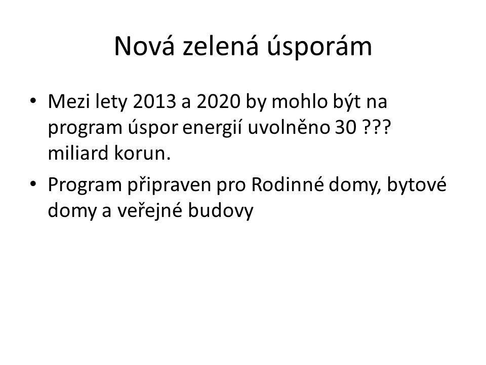 Nová zelená úsporám Mezi lety 2013 a 2020 by mohlo být na program úspor energií uvolněno 30 ??? miliard korun. Program připraven pro Rodinné domy, byt
