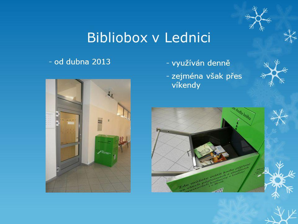 Bibliobox v Lednici -od dubna 2013 -využíván denně -zejména však přes víkendy