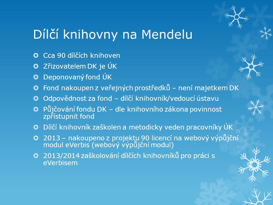 Dílčí knihovny na Mendelu  Cca 90 dílčích knihoven  Zřizovatelem DK je ÚK  Deponovaný fond ÚK  Fond nakoupen z veřejných prostředků – není majetke