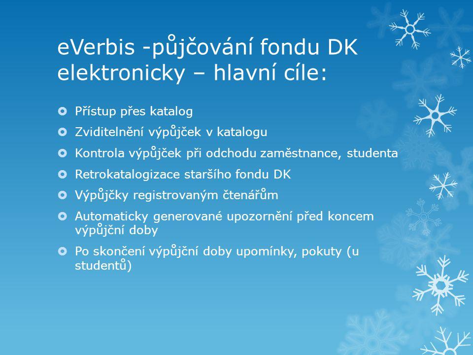 eVerbis -půjčování fondu DK elektronicky – hlavní cíle:  Přístup přes katalog  Zviditelnění výpůjček v katalogu  Kontrola výpůjček při odchodu zamě