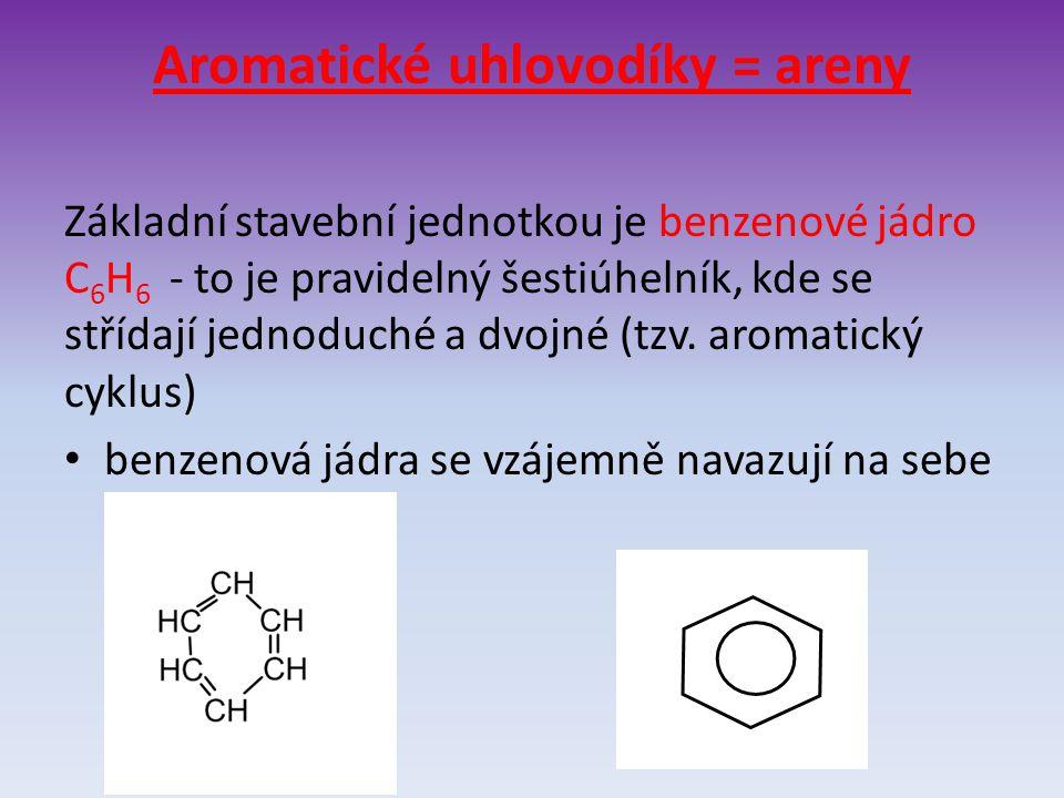 Aromatické uhlovodíky = areny Základní stavební jednotkou je benzenové jádro C 6 H 6 - to je pravidelný šestiúhelník, kde se střídají jednoduché a dvo