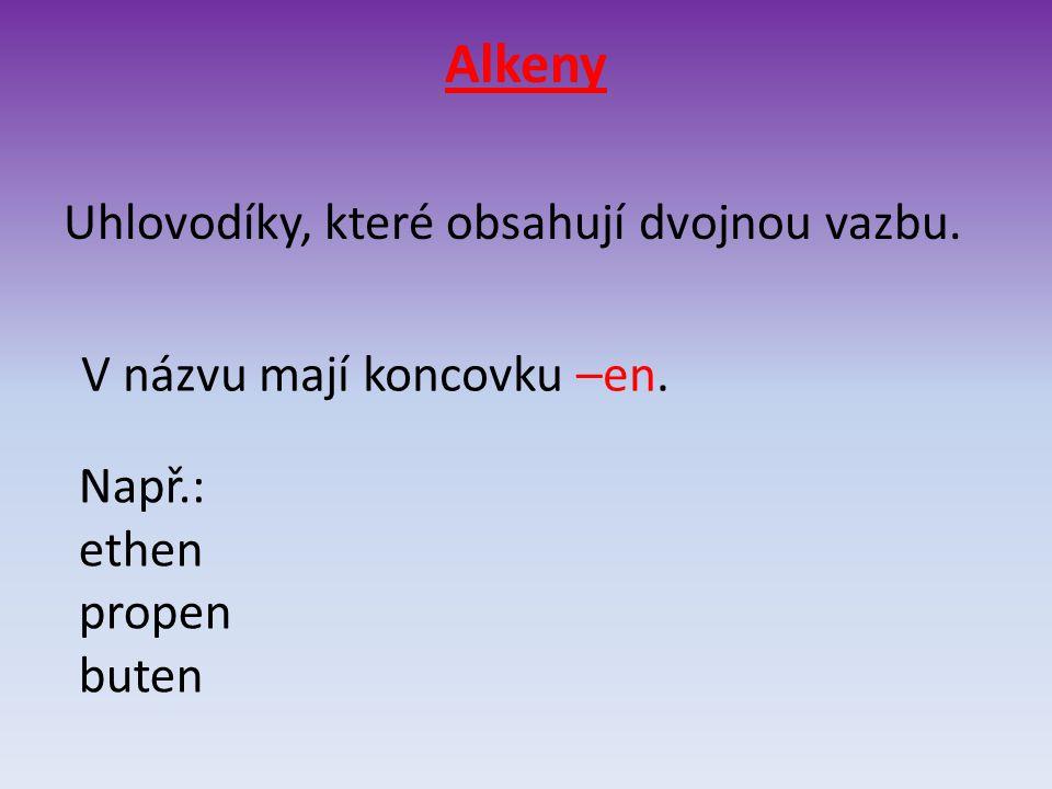 Alkeny Uhlovodíky, které obsahují dvojnou vazbu. V názvu mají koncovku –en. Např.: ethen propen buten
