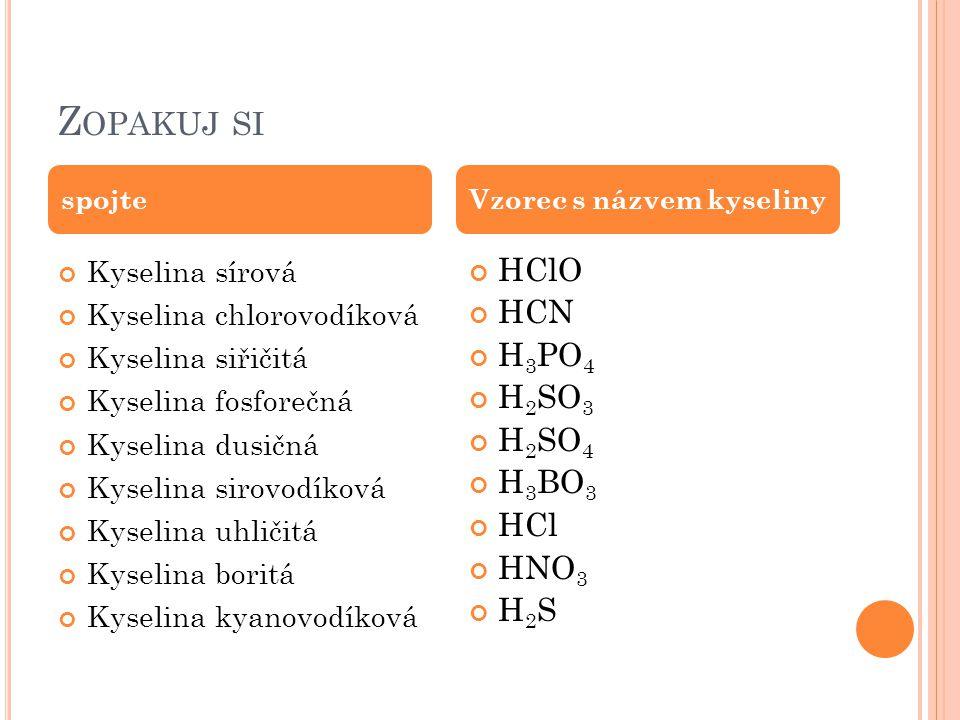 Z OPAKUJ SI Kyselina sírová Kyselina chlorovodíková Kyselina siřičitá Kyselina fosforečná Kyselina dusičná Kyselina sirovodíková Kyselina uhličitá Kys