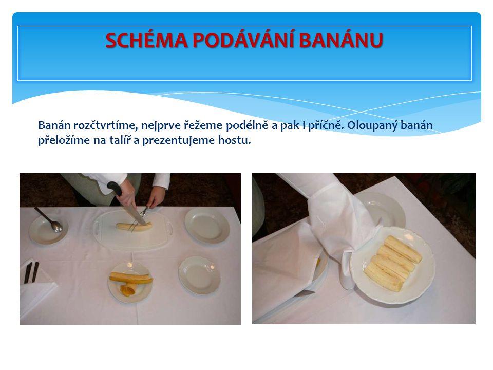 Banán rozčtvrtíme, nejprve řežeme podélně a pak i příčně. Oloupaný banán přeložíme na talíř a prezentujeme hostu. SCHÉMA PODÁVÁNÍ BANÁNU