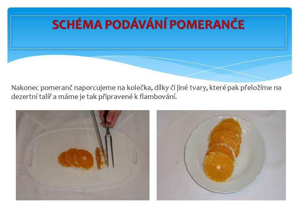 Nakonec pomeranč naporcujeme na kolečka, dílky či jiné tvary, které pak přeložíme na dezertní talíř a máme je tak připravené k flambování. SCHÉMA PODÁ