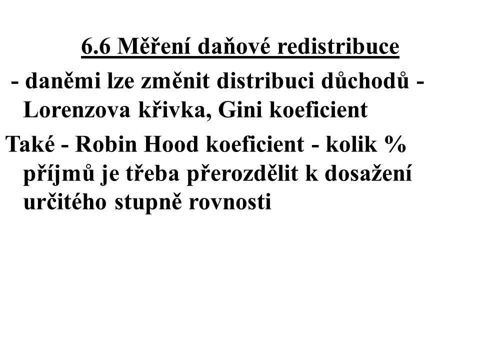 6.6 Měření daňové redistribuce - daněmi lze změnit distribuci důchodů - Lorenzova křivka, Gini koeficient Také - Robin Hood koeficient - kolik % příjm