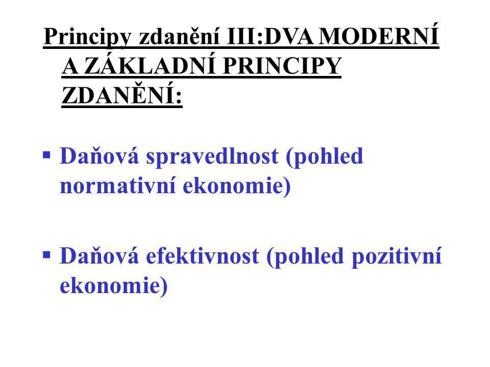 Principy zdanění III:DVA MODERNÍ A ZÁKLADNÍ PRINCIPY ZDANĚNÍ:  Daňová spravedlnost (pohled normativní ekonomie)  Daňová efektivnost (pohled pozitivn