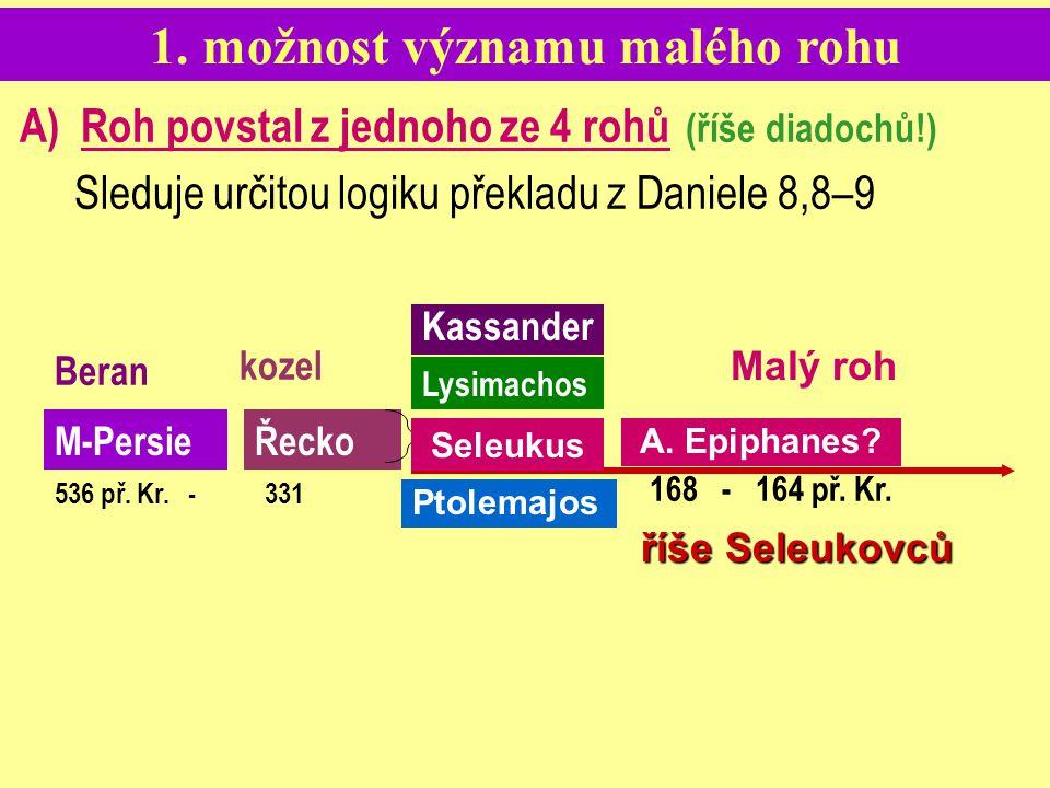 1. možnost významu malého rohu A) Roh povstal z jednoho ze 4 rohů (říše diadochů!) Sleduje určitou logiku překladu z Daniele 8,8–9 Beran 536 př. Kr. -