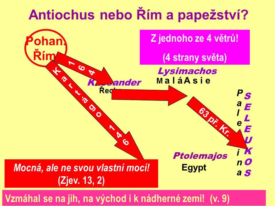 Antiochus nebo Řím a papežství? Kassander Lysimachos SELEUKOSSELEUKOS P tolemajos Pohan. Řím Egypt Řecko PalestinaPalestina M a l áA s i e Kartágo146K