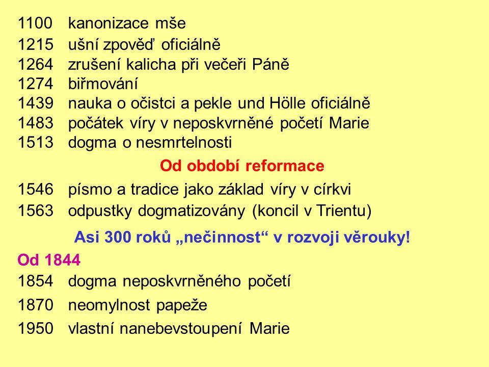 1100kanonizace mše 1215ušní zpověď oficiálně 1264zrušení kalicha při večeři Páně 1274biřmování 1439nauka o očistci a pekle und Hölle oficiálně 1483poč