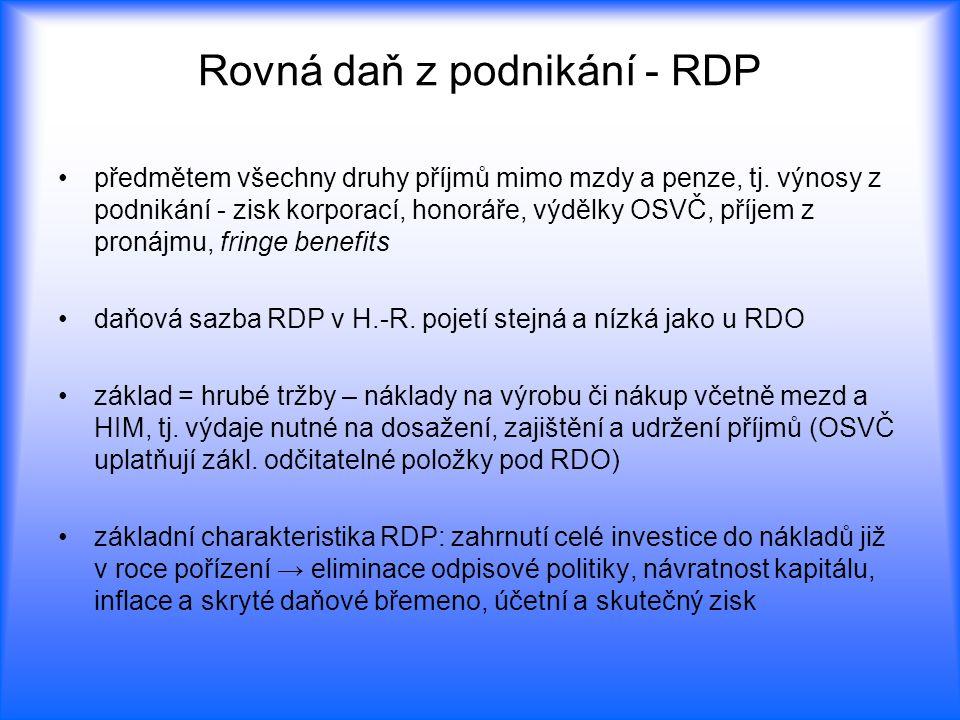 Rovná daň z podnikání - RDP předmětem všechny druhy příjmů mimo mzdy a penze, tj. výnosy z podnikání - zisk korporací, honoráře, výdělky OSVČ, příjem