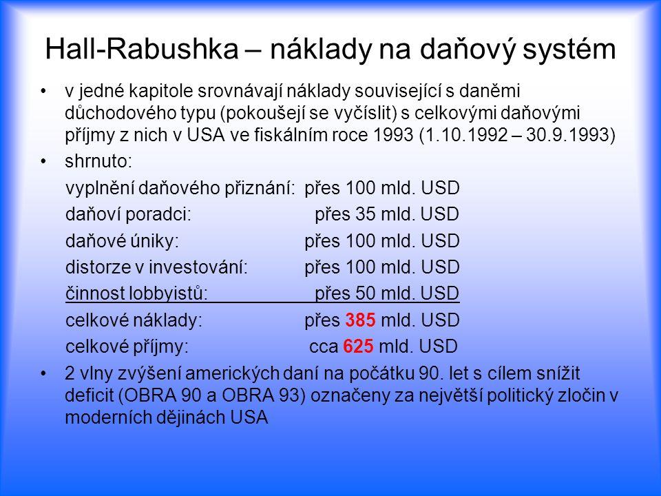 Hall-Rabushka – náklady na daňový systém v jedné kapitole srovnávají náklady související s daněmi důchodového typu (pokoušejí se vyčíslit) s celkovými