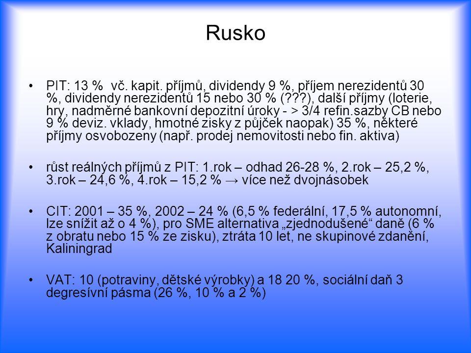 Rusko PIT: 13 % vč. kapit. příjmů, dividendy 9 %, příjem nerezidentů 30 %, dividendy nerezidentů 15 nebo 30 % (???), další příjmy (loterie, hry, nadmě