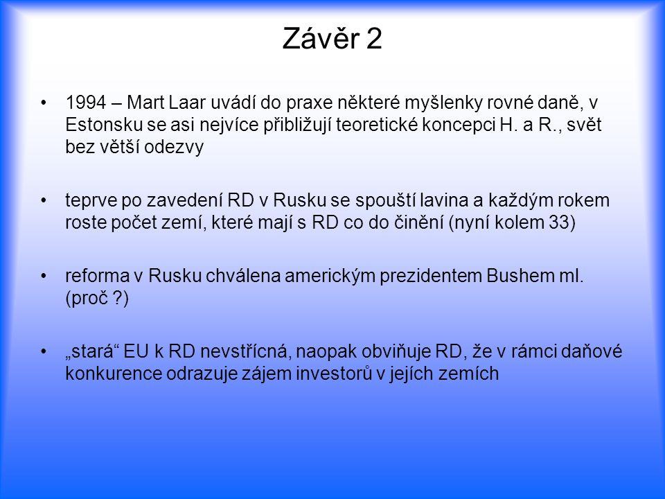 Závěr 2 1994 – Mart Laar uvádí do praxe některé myšlenky rovné daně, v Estonsku se asi nejvíce přibližují teoretické koncepci H. a R., svět bez větší