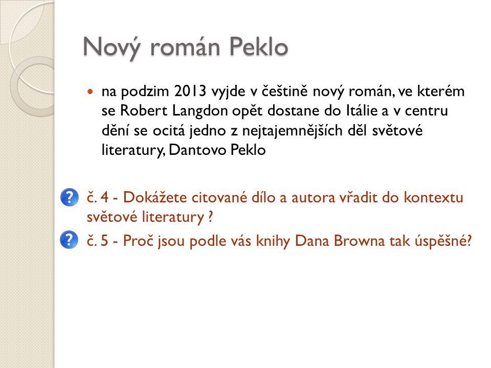 Nový román Peklo na podzim 2013 vyjde v češtině nový román, ve kterém se Robert Langdon opět dostane do Itálie a v centru dění se ocitá jedno z nejtajemnějších děl světové literatury, Dantovo Peklo č.