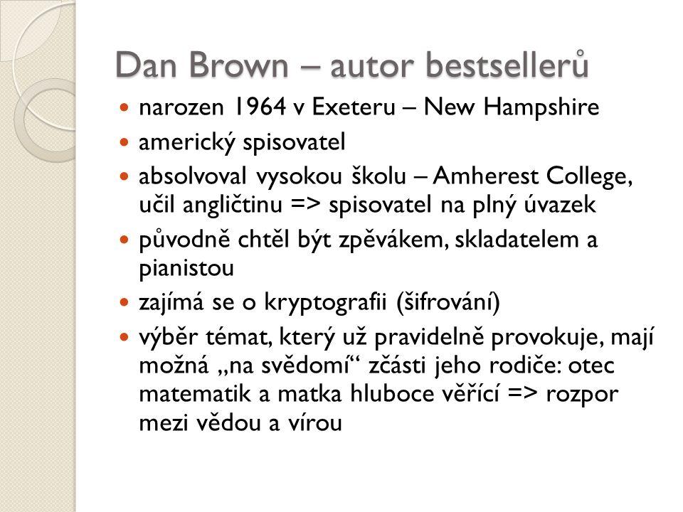 """Dan Brown – autor bestsellerů narozen 1964 v Exeteru – New Hampshire americký spisovatel absolvoval vysokou školu – Amherest College, učil angličtinu => spisovatel na plný úvazek původně chtěl být zpěvákem, skladatelem a pianistou zajímá se o kryptografii (šifrování) výběr témat, který už pravidelně provokuje, mají možná """"na svědomí zčásti jeho rodiče: otec matematik a matka hluboce věřící => rozpor mezi vědou a vírou"""
